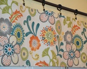 Window VALANCE -  Suzani Floral in Teal Green Orange Grey Yellow - Window Decor - Window Treatment - Rod Pocket