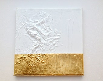 Modern contemporary gold white painting on canvas G13