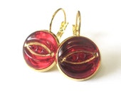 RED vintage button earrings, Czech glass buttons, gold lever backs