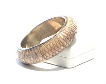Carved Bone and Brass Bangle Bracelet  Bohemian Jewelry Geometric Design