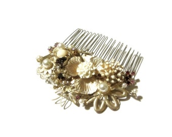 Golden Floral Decorative Hair Jewerly Burgundy and Cream Accents Hand Wired Pearly Beaded Bridal Comb