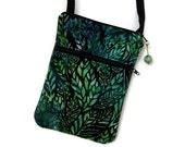 Small Crossbody Bag, Iphone 6 Plus, Small Purse, Handmade Zipper Pull, Batik Fabric
