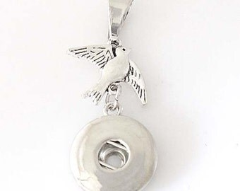 1 Bird Pendant Only - FITS 18MM Candy Snap Charm Jewelry Silver KB0521 Cp0090