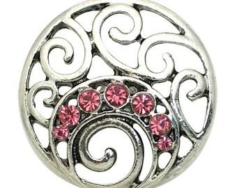 1 PC 18MM Pink Flourish Rhinestone Silver Snap Candy Charm kb8876 CC1577