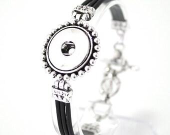 "1 Black Leather Bracelet - 6.5-8"" Fits 18MM Candy Snap Charms Silver kb0539 CJ0283"