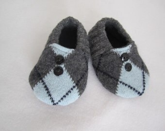 Toddler boy's argyle wool slippers fleece-lined 9-12 mos.   RTS