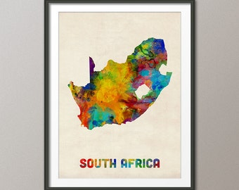 South Africa Watercolor Map, Art Print (2306)