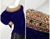 Vintage CHRISTIAN DIOR BOUTIQUE Baroque Jewelled Velvet Oversize Sweater