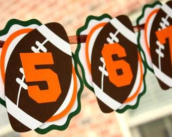 Football Photo Banner . First Birthday Photo Banner . 1st Birthday Football Banner . Monthly Football Banner . Football Party Decorations