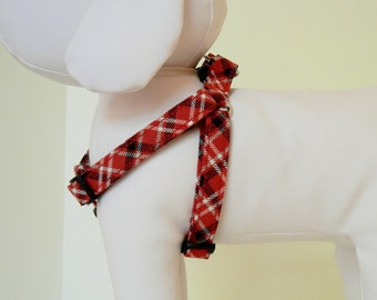 Red Blue Plaid Step-In Harness Made to Order