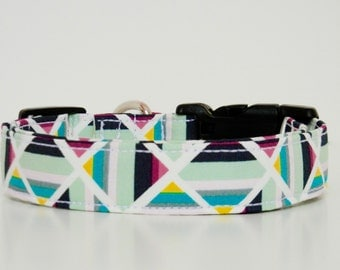 Geometric Dog Collar Mint Aqua Pink Wedding Accessories Made to Order