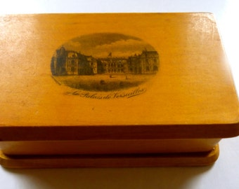 Mauchline  traveling ink well and stamp box with French palace de Versailles