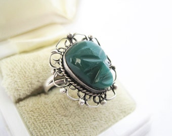 Sterling Tribal Face Ring - 925  Carved Green Onyx  -  Size 6 - Aztec Jewelry