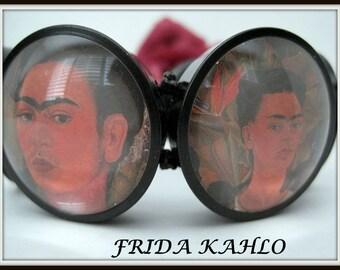 Frida Kahlo Portrait Bangle Wide Stretch Bracelet