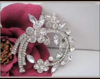 Clear Rhinestone Wedding Brooch  Art Deco