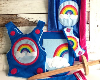 Rainbow Knight GIFT SET - Rainbow Knight Dress Up Costume - Halloween Costume - Kid Costume