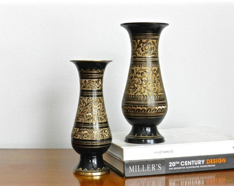 Vintage Brass Vase Pair Brown Enamel Gold Etched Metallic Chic  Moroccan Persian Vases Boho Chic Decor