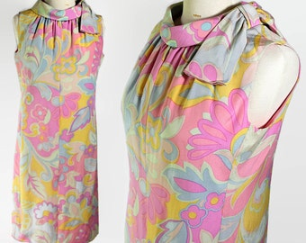 60s Suzy Perette Mod Silk Dress Abstract Psychedelic Print