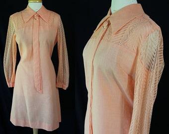 60s R & K Originals, Plus Size Shift Dress, Cotton Lace, Sheer Sleeves