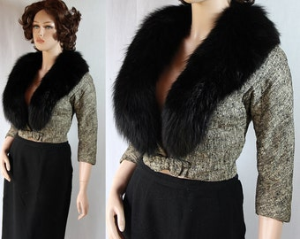 50s Sexy Bombshell Tweed Jacket Black Fur Collar