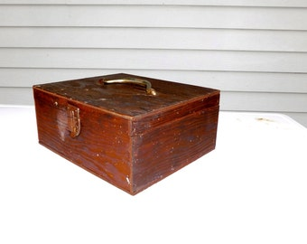 Vintage Wood Box With Dividers Wood Case Latch Handle