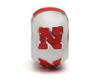 "Nebraska White ""N"" Bead Charm - For Bracelet or Necklace - Fits Pandora"