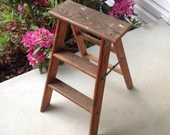 """Vintage 23"""" Step Ladder Two Step Small Wooden Folding Step Stool Plant Stand Rustic Ladder Farmhouse Decor Paint Splatered Solid Sturdy"""