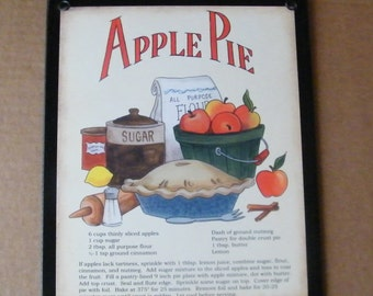 Retro Vintage  APPLE Pie Recipe Sign Country Folk Art Saltbox Shabby Wall Decor