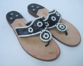 JACK ROGERS Iconic Black & White Leather Sandals US Size 9 M