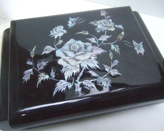 Exotic Mother of Pearl Black Lacquered Asian Style Jewelry Box