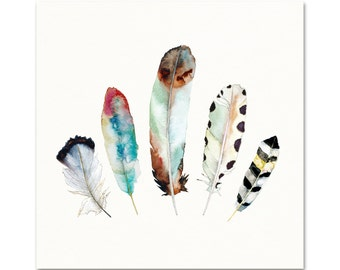 Watercolor Feather Print.  Tribal Feather Art.