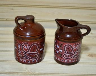 Vintage Japan Brown Stoneware Creamer Sugar Bowl Pitcher Pottery Crock Red Bandana Paisley Design Western Country