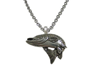 Turning Pike Fish Pendant Necklace