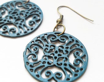 Teal Blue Round Filigree Earrings