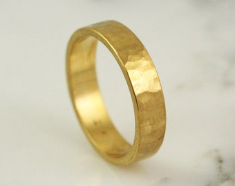 6mm Wide Mens Hammmered Wedding Band - Solid 14k 18k 22k 24k Gold / Rustic Handmade Ring
