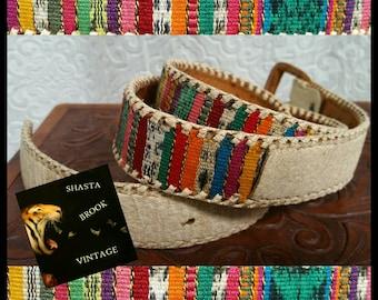 VTG Boho Guatemalan Textile Leather Belt - Size 32 - Creme Leather Textile Belt - 70s Hippie Folk Boho Bohemian Belt - Ethnic Tribal Belt