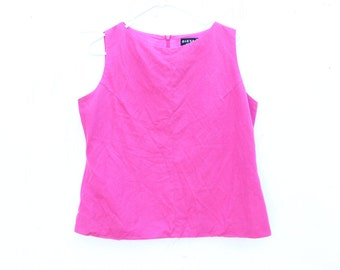 90s Hot Pink Cotton / Linen High Neck Minimal Sleeveless Tank Top