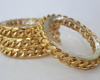 Glamorous Hollywood Regency Gold Chain and Glass Coasters