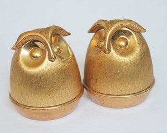 Mid Century Gold Owl Salt & Pepper Shakers by Napier