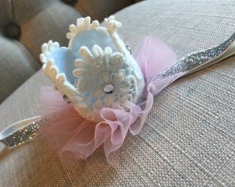 Newborn Infant Lace Mini Crown Headband Photo Prop