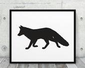 Fox Printable. Black & White Fox Silhouette Woodland Animal Print. Modern Wall Art Nursery Home Office Decor. Instant Download DIY Print