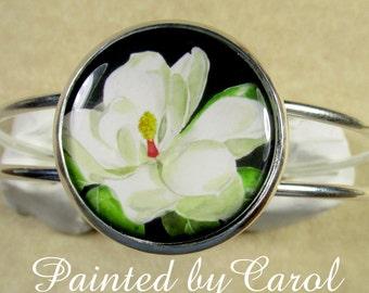 Magnolia Bracelet  -  Southern White Magnolia Flower, Floral Cuff Bracelet