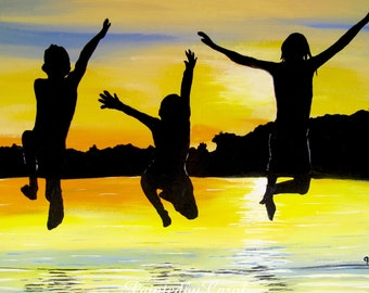 Summertime Print - All In Summer, Kids, Sunset, Lake, Swimming, Jump Acrylic Print