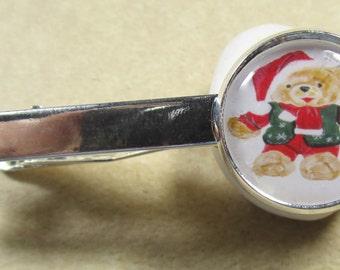 Christmas Tie Bar, Christmas Tie Tack, Christmas Tie Clip, Teddy Bear Tie Bar, Teddy Bear Tie Tack. Teddy Bear Tie Clip, Christmas Mens Gift