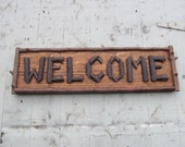 Welcome sign Rustic twig sign Handmade Adirondack cabin decor wood stick sign