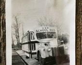 Original Antique Photograph School Bus 1945