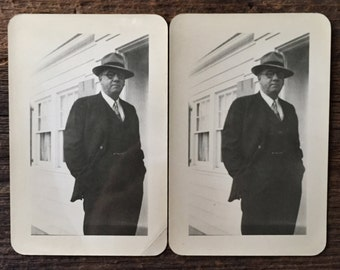 Pair of Original Vintage Photographs The Man in the Black Suit