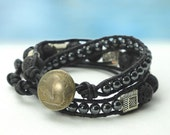 Country Road... Men's double leather wrap bracelet... Original OceanBead Style.