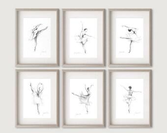 Ballerina Prints, Set of 6 Prints, 6 Ballerina Prints, Ballerina Pictures, Ballerina Sketches, Girl Room Decor, Gift for Her, Set of 6 Dance