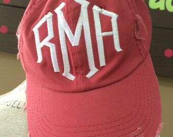 Distressed Monogram Cap • Baseball Style Hat